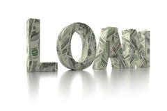 dólar de EE. UU. del PRÉSTAMO 3D envolver-alrededor de la palabra Fotografía de archivo