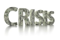 dólar de EE. UU. de la CRISIS 3D envolver-alrededor de la palabra Imágenes de archivo libres de regalías