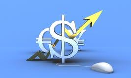 Dólar de EE. UU. que sube para arriba Ilustración del Vector