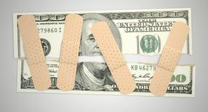Dólar de EE. UU. rasgado cuidado Foto de archivo