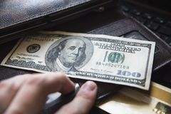 Dólar de la cartera del dinero Imagen de archivo libre de regalías