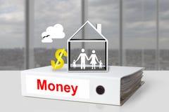 Dólar de la familia de la casa del dinero de la carpeta de la oficina Imagenes de archivo