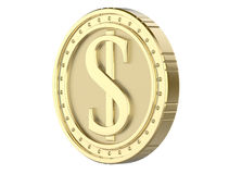 dólar de la moneda de oro 3d, con una imagen de una pila del dólar 3D rinden, aislado en el fondo blanco Imagen de archivo libre de regalías