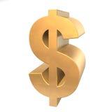 dólar de oro 3D Imagen de archivo libre de regalías