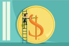 Dólar de pintura del hombre de negocios ilustración del vector
