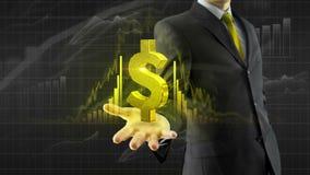 Dólar del control del hombre de negocios a mano libre illustration