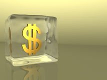 Dólar del cubo de hielo Imagenes de archivo