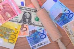 Dólar del euro del dinero Imagen de archivo