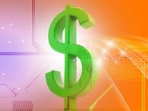 dólar del globo 3d ilustración del vector