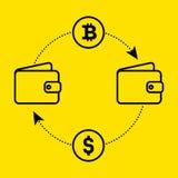 Dólar del icono al intercambio del bitcoin de moneda Diseño plano El ejemplo del vector aisló un fondo amarillo para el sitio web Imagen de archivo libre de regalías