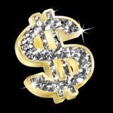 Dólar del oro y del diamante Fotografía de archivo libre de regalías