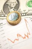 Dólar del tipo de cambio contra euro con estadística fotos de archivo