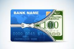 Dólar dentro do cartão de crédito Fotos de Stock