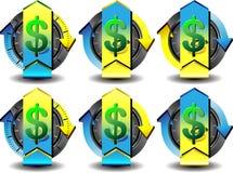 Dólar do botão Imagens de Stock