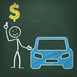 Dólar do carro de Stickman do quadro-negro Fotografia de Stock