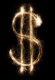 Dólar do chuveirinho no fundo preto Fotografia de Stock