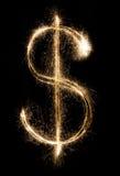 Dólar do chuveirinho no fundo preto Imagem de Stock