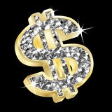 Dólar do ouro e do diamante Fotografia de Stock Royalty Free