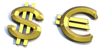 Dólar do ouro, euro do ouro Fotografia de Stock Royalty Free