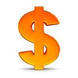 Dólar do sinal no fundo branco Ilustração 3d isolada Imagens de Stock Royalty Free