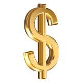 Dólar dourado do sinal Imagens de Stock Royalty Free
