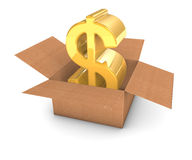 Dólar dourado na caixa Fotografia de Stock Royalty Free