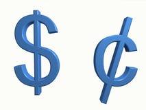 Dólar e centavo Foto de Stock Royalty Free