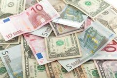 Dólar e euro Fotos de Stock Royalty Free