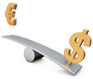 Dólar e euro Fotografia de Stock