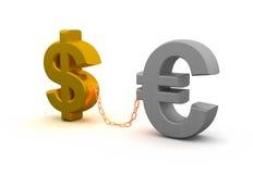 Dólar e euro Foto de Stock Royalty Free