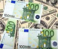 Dólar e euro- nota de banco Foto de Stock Royalty Free
