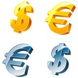 Dólar e euro- sinais. Imagem de Stock
