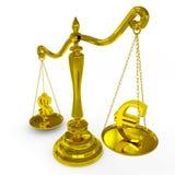 Dólar e euro- sinais no escalas. Foto de Stock Royalty Free