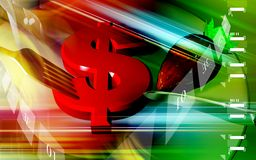 Dólar e forquilha Fotografia de Stock