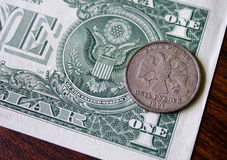 Dólar e moeda americanos do russo Imagens de Stock