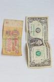 Dólar e rublo Fotografia de Stock Royalty Free