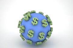 Dólar e a terra Fotografia de Stock Royalty Free