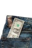 Dólar em seu bolso Fotografia de Stock Royalty Free