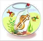 Dólar em um frasco Fotografia de Stock Royalty Free
