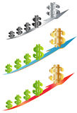 Dólar en el icono de la flecha ilustración del vector