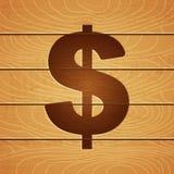 Dólar en fondo de madera Fotos de archivo