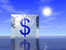 Dólar en hielo Imágenes de archivo libres de regalías