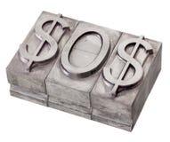 Dólar en la señal de socorro - señal el SOS Fotografía de archivo
