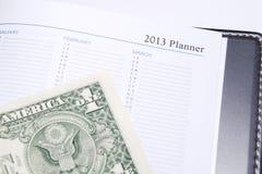 Dólar en planificador de 2013 años Foto de archivo