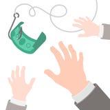 Dólar en un concepto plano del negocio del gancho libre illustration