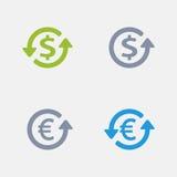 Dólar & Euro - ícones do granito ilustração royalty free