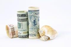Dólar, euro, Yen -- Economías aliadas Fotos de archivo libres de regalías