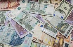 Dólar, euro, zloty polaco, ucraniano, rublo Imagen de archivo libre de regalías