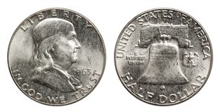 Dólar Franklin 1963 de la moneda de plata de los E.E.U.U. medio imágenes de archivo libres de regalías