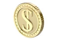 Dólar isométrico da moeda de ouro, com uma imagem de uma pilha do dólar 3D rendem, isolado no fundo branco Foto de Stock Royalty Free
